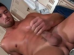 Hot guy strokes his whole cock with a vengeance