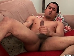 Cute guy in the matter of shaved balls masturbates coupled with cums