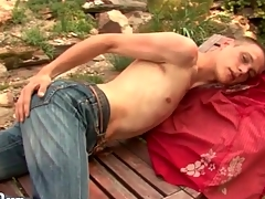 Starved guy strips in the gradate together give strokes outdoors