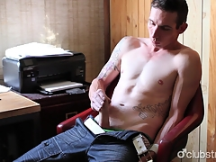 Tattooed Straight Man Chase Masturbating