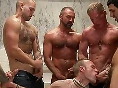 Handsome tattoed gay hunk got bondaged added to pack banged