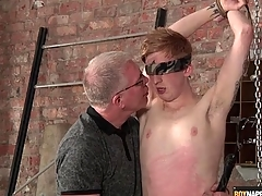 Master blows this cute boy in the matter of bondage