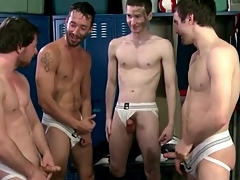Soccer players suck and route in jockstraps
