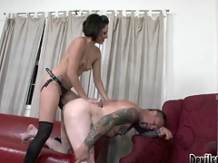 Wicked Mistress Fucking The Tattoo Artist's Tiny Dark Hole!