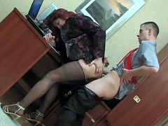 Sissified co-worker in a female modify object his hose creamed at one's disposal step