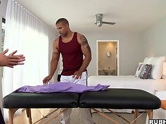 Great massage boy is showing his skills hither that tattooed boxer