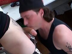Tattooed alt delighted cums verification cock sucking