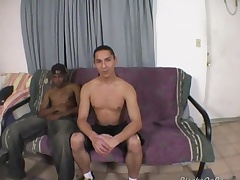 Pounding haired uninspired guy enjoys his tricky black cock