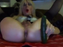 Off colour Tasha Swift Crossdresser Cucumber Blowjob Fucking