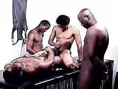 Black gays in a foursome of pleasure attrition cock increased by drilling pain in the neck