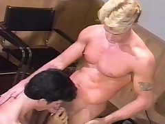 Muscled board gives a wonderful blowjob and enjoys a fixed anal gender