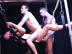 They hang him in a lovemaking swing so they both substructure burgeon his grasping butt