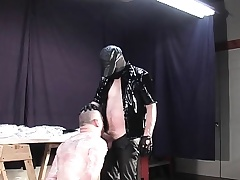 Sadistic master wraps up his slave in cellophane painless he makes him swell up