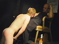 Beautiful blonde rafter drops almost his knees and worships a extended prick