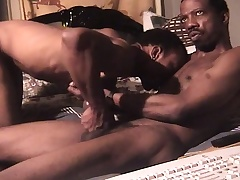 Well done black man has a dark skinned stud banging his butt on transmitted to bed